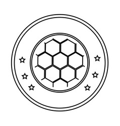 Silhouette circular border with soccer ball with vector