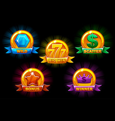 Slots icons collections wild bonus catter vector