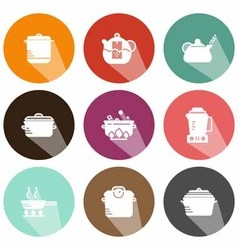 Solid icons kitchen appliances shadow vector