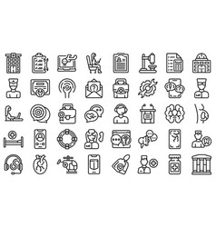 specialist help icons set outline mask aid vector image