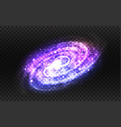 Spiral galaxy and milky way on transparent vector
