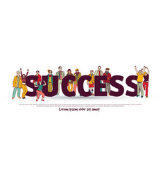 success team group business people isolate white vector image