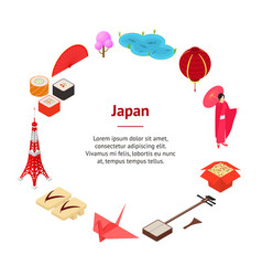 Symbol of japan banner card circle isometric view vector