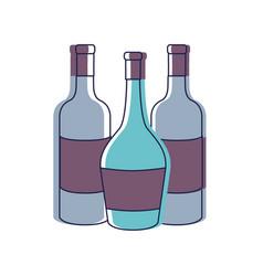 Tasty wine bottles beverage icon vector