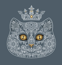 tattooed head of a cat with a crown vector image
