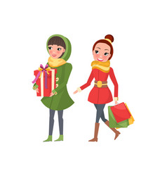 Two woman shopaholics presents gift boxes females vector