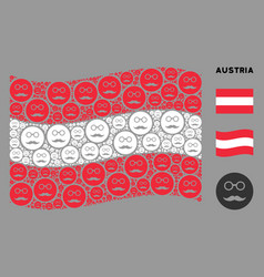 Waving austria flag composition pension smiley vector