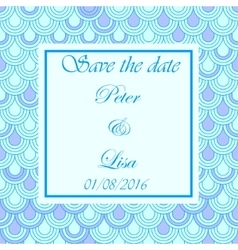 Wedding invitation flake pattern blue vector image