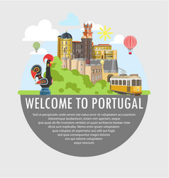 Welcome to portugal travel tourism poster template vector