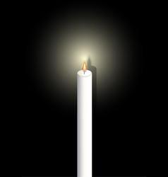 white candle on white background mourning symbol vector image