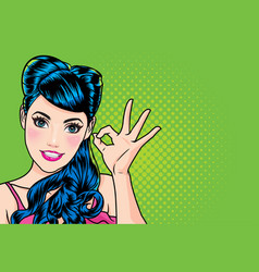 woman with finger okay gesture action vector image
