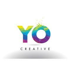 Yo y o colorful letter origami triangles design vector