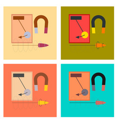 Assembly flat icons physics lesson magnet vector