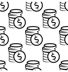 Dollar coins seamless pattern vector image