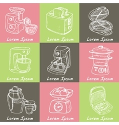 Home appliances themed doodle set sketches vector