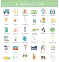 medical color flat icon set Elegant style vector image vector image