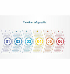 timeline or area chart template infographics 6 vector image vector image