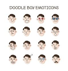 cute doodle boy heads set Boy emoticons vector image vector image