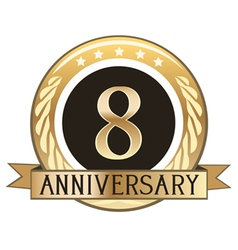 Eight Year Anniversary Badge vector image vector image