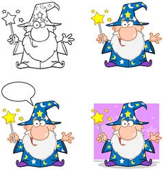 Happy Wizard Waving With Magic Wand Collection vector image vector image
