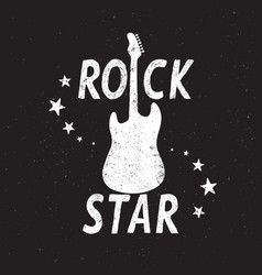 rock star grunge emblem with guitar vector image