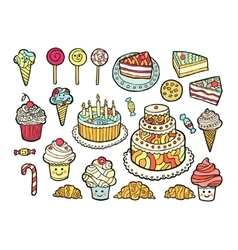 Set of cute colorful sweets vector image vector image