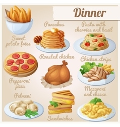 Set of food icons dinner vector