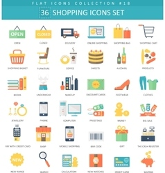 shopping color flat icon set Elegant style vector image vector image