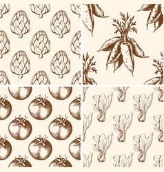 vintage vegetable patterns vector image vector image