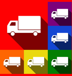 delivery sign set of icons vector image