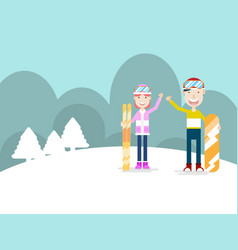 human with ski and snowboard cartoon vector image