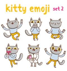 Kitty emoji set 2 vector image vector image