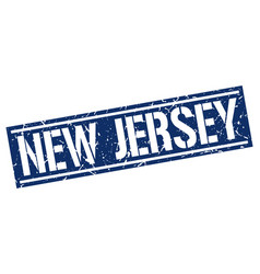 New jersey blue square stamp vector