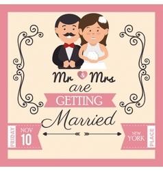 Pretty wedding card with bride groom design vector