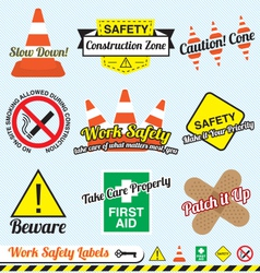 Work Safety and Construction Labels vector image vector image