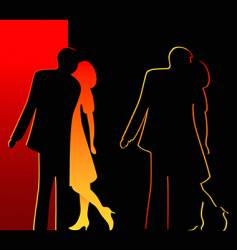 romantic silhouettes vector image vector image