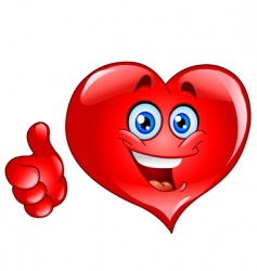 thumb up heart vector image vector image