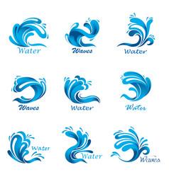 waves splash and ocean or sea liquid vector image