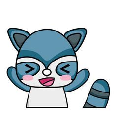 Adorable and cheerful raccoon wild animal vector