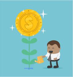 african-american businessman watering money flower vector image