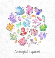 Background with doodle sketch crystals collection vector