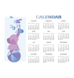 Baelephant calendar 2021 cartoon vector