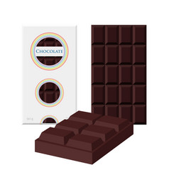 black chocolate bar cacao label package sweet vector image