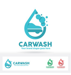 Car wash logo car shampoo bubble and water drop vector