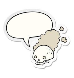 Cartoon dusty old skull and speech bubble sticker vector