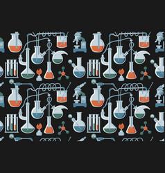 cartoon hand drawn science seamless pattern vector image