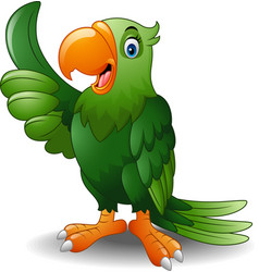 cartoon happy parrot giving thumb up vector image