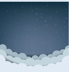 cartoon sky with stars and cloud vector image