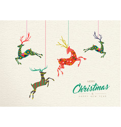 Christmas and new year retro deer ornament card vector