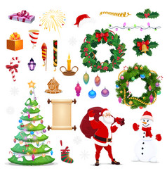 christmas and new year winter holiday icons vector image
